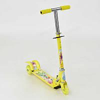 Самокат жёлтый Принцессы 3 колеса PVC, фото 1