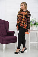 Женская туника свободного кроя Жар-птица цвет оранж / размер 48-72