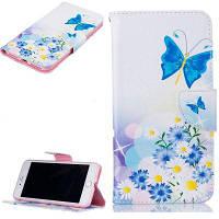 Blue Butterfly Pattern Роскошный стиль PU кожаный чехол для мобильного телефона флип-обложка для iPhone 7/8 Белый