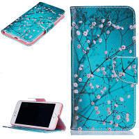 Plum Blossom Pattern Роскошный стиль PU кожаный чехол для мобильного телефона флип-обложка для iPhone 7/8 Синий