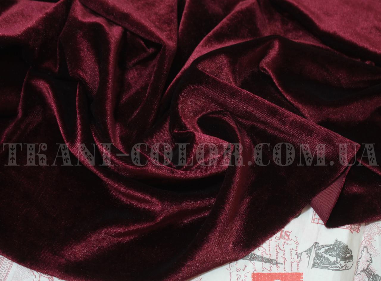 Ткань бархат стрейч бордовый
