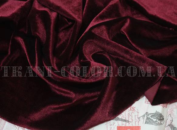 Ткань бархат стрейч бордовый, фото 2