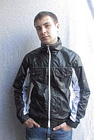 Черная мужская ветровка из плащевки, с белыми вставками. Арт-4082/80