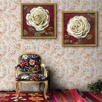 Специальная конструкция Каркасные картины Большие белые цветы Печать 2PCS 16 x 16 дюймов (40cм x 40cм)