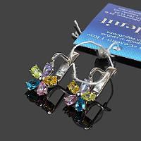 Серебряные серьги Пять цветов с фианитами