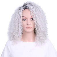 Ombre Grey Цвет Средняя длина Кудрявый кудрявый синтетический парик для пожилых женщин серый