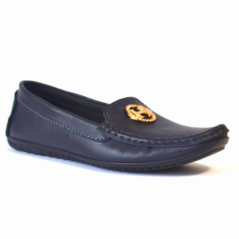 """Мокасины кожаные женская обувь больших размеров Ornella BS Blu Leather by Rosso Avangard цвет синий """"Океан"""""""