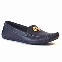 """Женская обувь больших размеров мокасины кожаные Ornella BS Blu Leather by Rosso Avangard цвет синий """"Океан"""""""