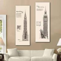 Специальный дизайн безрамной живописи Башни-близнецы Версия для печати 2 9 x 28 дюймов (24cм x 70cм)