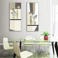 Специальная конструкция Каркасные картины Ваза с цветами Печать 2PCS 9 x 28 дюймов (24cм x 70cм)