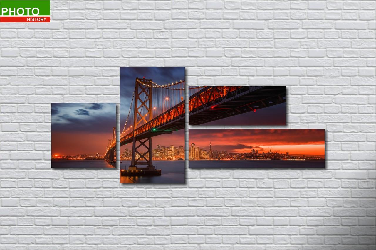 Картина модульная закат мост