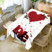 День Святого Валентина Роза Лепестки Сердце Любовь Узорчатая водонепроницаемая скатерть ширина54дюйма*длина54дюйма