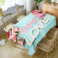 День Святого Валентина Розы Сердца Любовь Узорчатая водонепроницаемая скатерть - Бледно-голубой цвет