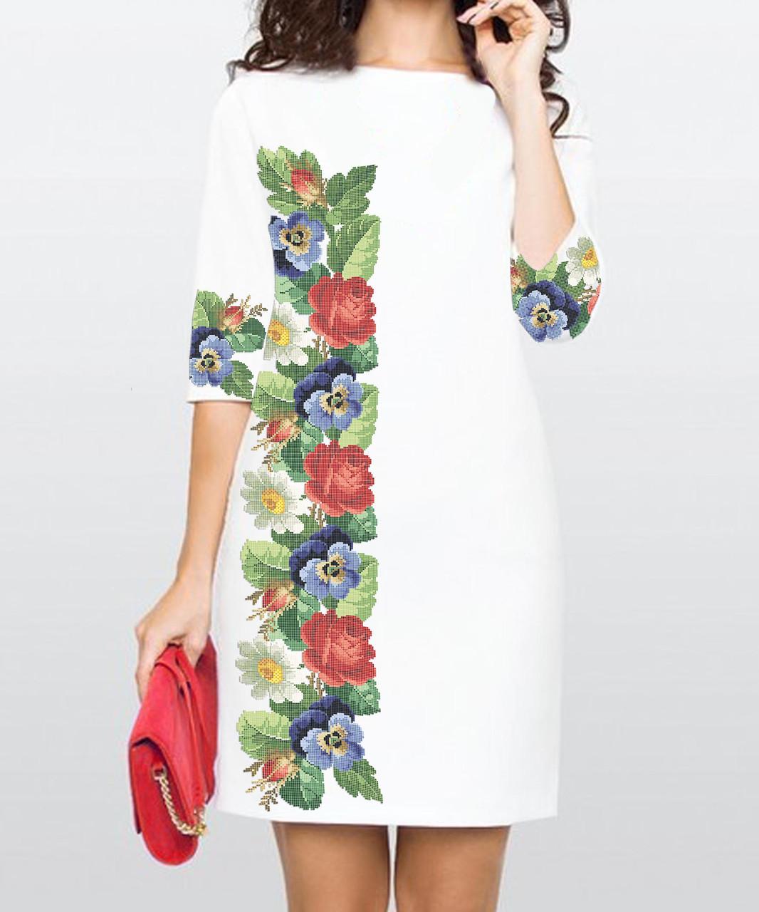 Заготовка жіночого плаття чи сукні для вишивки та вишивання бісером Бисерок  «Аромат літа» (П-31 ГБ) Габардин