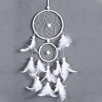 Umiwe White Dreamcatcher Gift Handmade Dream Catcher Net With Feathers Настенный висячий орнамент для свадебного праздника Белый