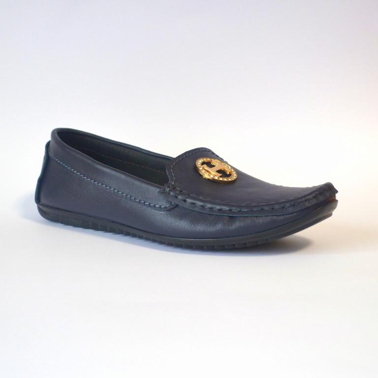 """Мокасины кожаные синие летняя женская обувь Ornella Blu Leather by Rosso Avangard цвет """"Океан"""""""