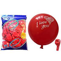 """Кульки повітряні """"I Love You"""", стандарт, 30см, 12/1S1C-100, червоні, 100шт/уп. Leader"""