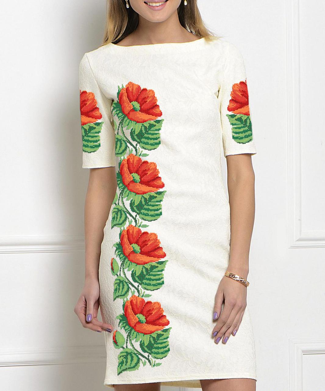 Заготовка жіночого плаття чи сукні для вишивки та вишивання бісером Бисерок  «Маки-Анемони» 7ad47db67eaf9