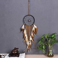 Новый вывесок домашний декор сон ловец круговые перья настенные витрины украшение украшение мечтатель украшение gif Кофейный цвет