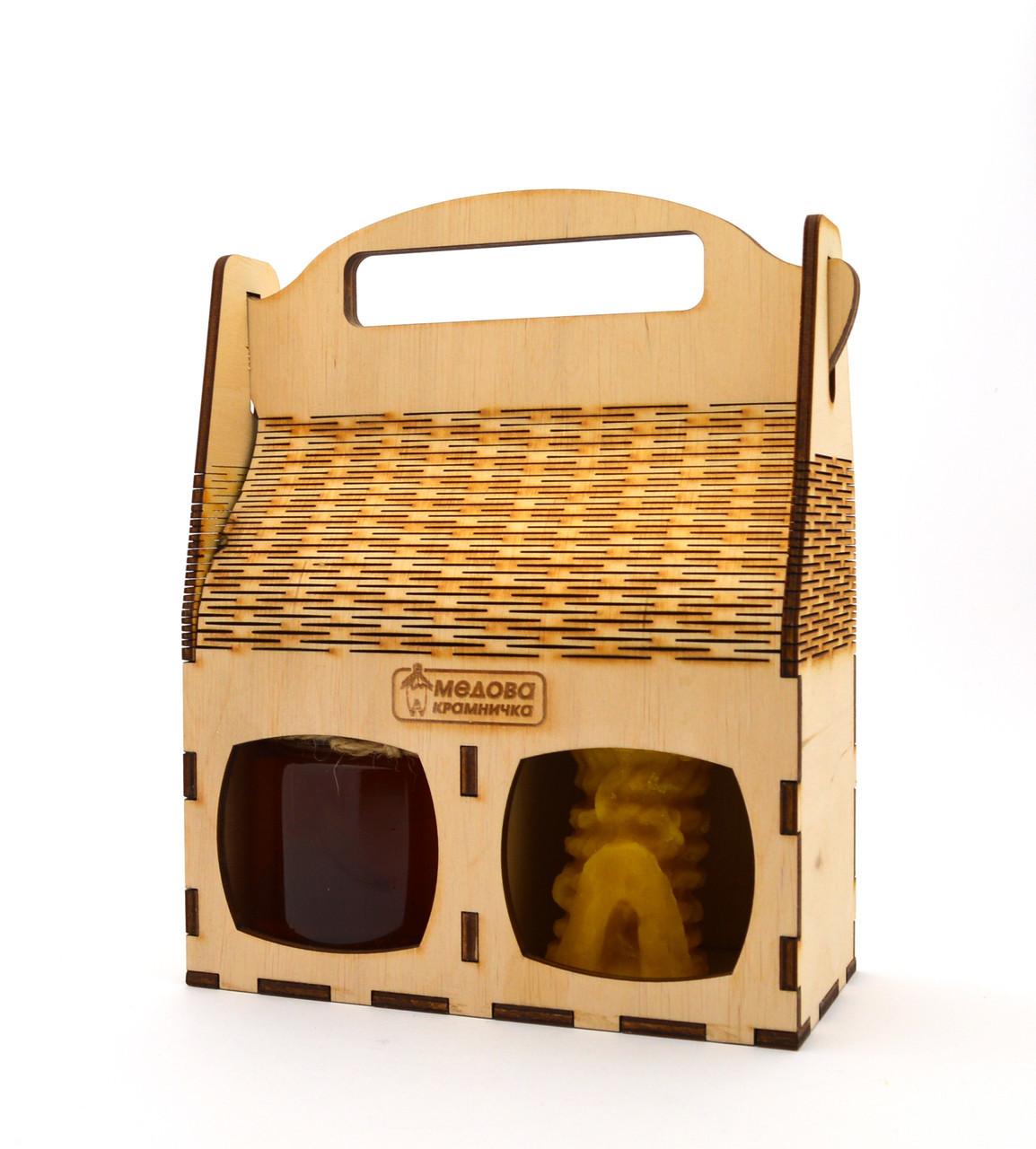 """Сувенірна коробочка на 2 одиниці з високою ручкою """"Медова Крамничка"""" дерево"""