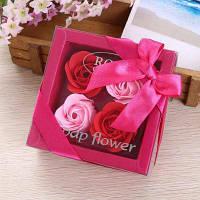 Искусственное мыло Розовый цветок в коробке День святого Валентина подарок 11*11*5 см