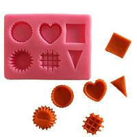 Лицевая силиконовая подарочная пресс-форма сердца Круглые квадратные геометрические узоры Инструменты для украшения подарков из шоколада Кухонные