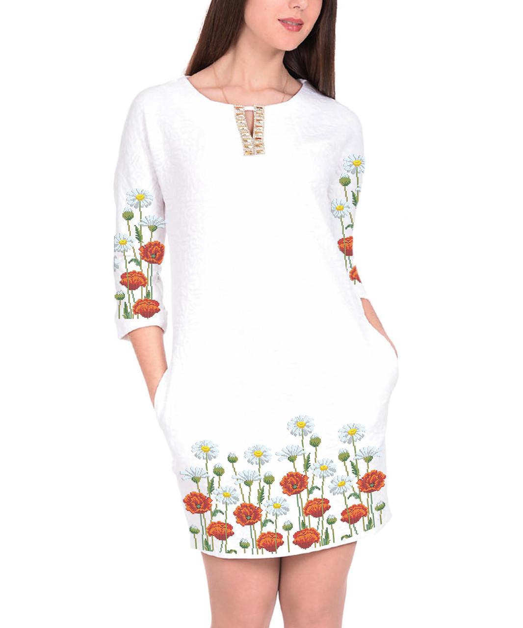 Заготовка жіночого плаття чи сукні для вишивки та вишивання бісером Бисерок  «Маки і ромашки» (П-52 ГБ) Габардин