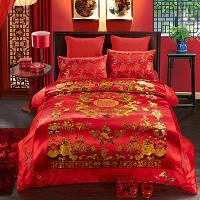 Шелк и вышивка Двойное одеяло для свадьбы Красный