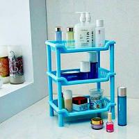 Квадратная стойка для покупок в ванной Пластиковые многофункциональные коллекторы трехслойные рама Синий
