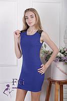 Красивое платье синего цвета с кружевом