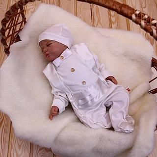 """Комбинезон для новорожденного """"Фрак""""  молоко"""