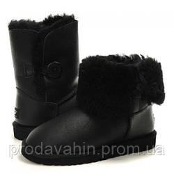 Угги модные UGG Bailey Button Leather Black