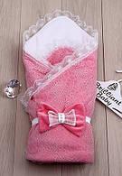 """Кружевной конверт на выписку из роддома деми """"Lumino"""" розовый"""
