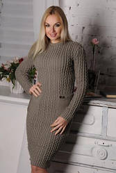 Платье вязанное батал Осень (4 цвета)