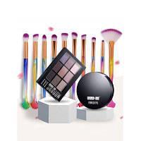 Профессиональная палитра Eyeshadow 9 цветов+10 шт. Щетка для макияжа+сыпучий порошок Разноцветный