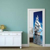DSU 3D горячие наклейки двери продажи Пейзаж Водонепроницаемая гостиная Спальня двери обои Самоклеящиеся наклейки на стенах Имитация 77 x 200cм