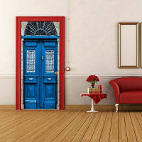 DSU 3D новые наклейки на двери Пейзаж Водонепроницаемая гостиная Спальня двери обои Самоклеящиеся наклейки на стенах Имитация
