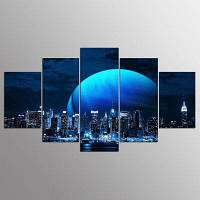 YSDAFEN 5 Panel Hd Просмотр картины из холста из холста в Нью-Йорке 30x40cмx2+30x60cмx2+30x80cмx1 (12x16дюймовx2+12x24дюйм