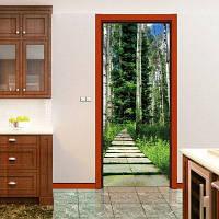 DSU 3D Мода Дверные наклейки Пейзаж Водонепроницаемая гостиная Спальня двери обои Самоклеящиеся наклейки на стенах Имитация