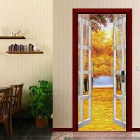 DSU Дверные наклейки Пейзаж Водонепроницаемая гостиная Спальня Дверь Самоклеящиеся наклейки на стенах Имитация