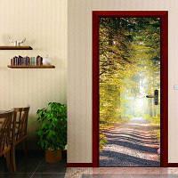 DSU Дверные наклейки Пейзаж Водонепроницаемый Гостиная Спальня Обои Обои Самоклеящиеся наклейки на стенах Имитация 3D стикер стены