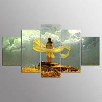 YSDAFEN 5 Панель Современная свободная картина холста искусства девушки в рамке для гостиной 30x40cмx2+30x60cмx2+30x80cмx1 (12x16дюймовx2+12x24дюйм