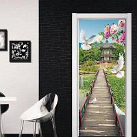 3D-обои DSU для дверных проемов и оконных иллюстраций Фрески Magnolia White Pigeons Landscape Mural Wallpaper 77 x 200cм