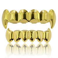Хип-хоп 18-каратного золота Цветные клыки Зубы Грильц Золотой