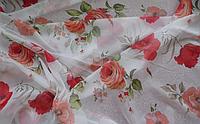 Тюль шифон Красные розы и маки