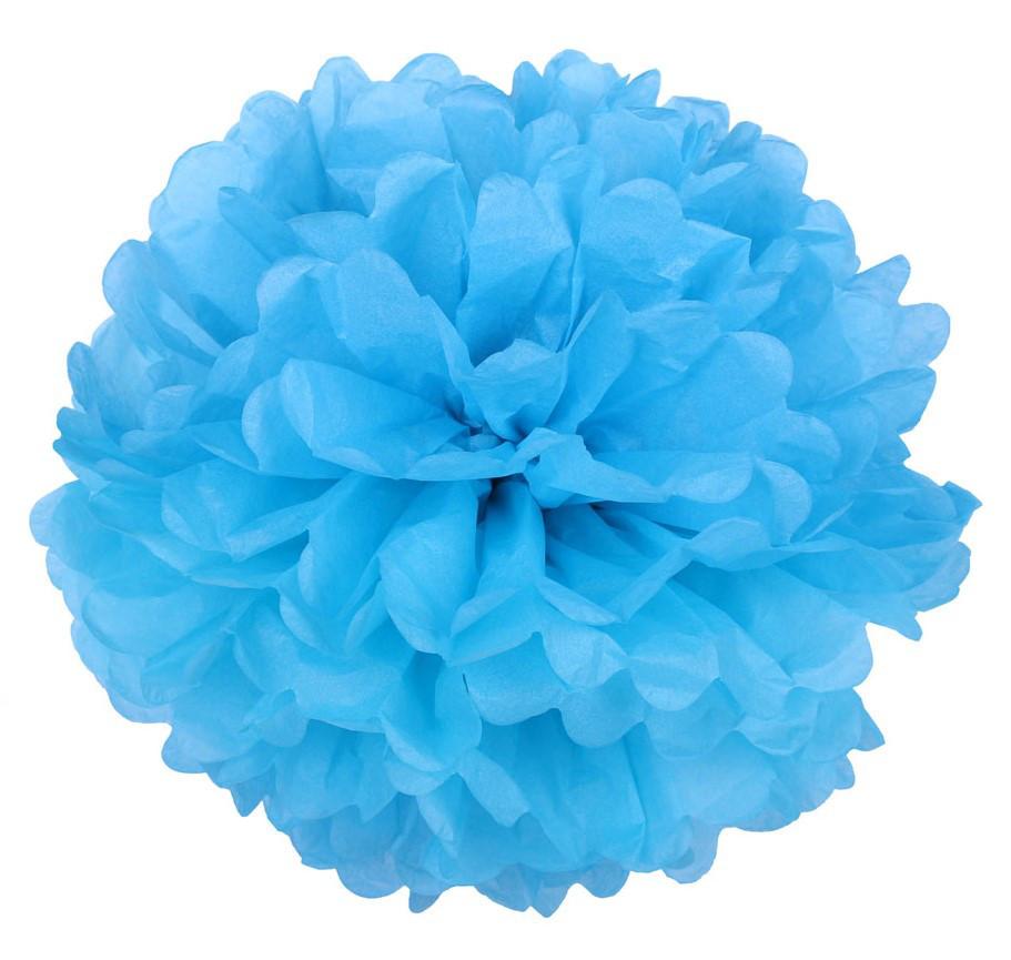 Помпон из тишью. Цвет: Голубой. Размер: 30см.