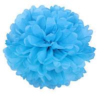 Помпон из тишью. Цвет: Голубой. Размер: 25см.