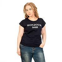 Женская футболка турция дешево оптом темно-синяя Bonjour