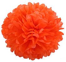 Помпон из тишью. Цвет: Оранжевый. Размер: 20см.