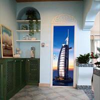 DSU 3D Дверные наклейки Пейзаж Водонепроницаемая дверь гостиной Самоклеящиеся наклейки на стенах Имитация